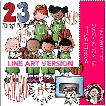 Basketball clip art - LINE ART- by Melonheadz