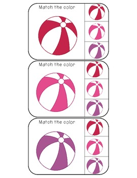 beach ball themed match the color clothespin activity cards