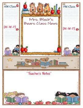 bear theme teacher newsletter