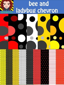 bee and ladybug colored digital paper