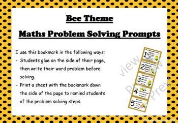 Maths Problem Solving Bookmark: Bee theme