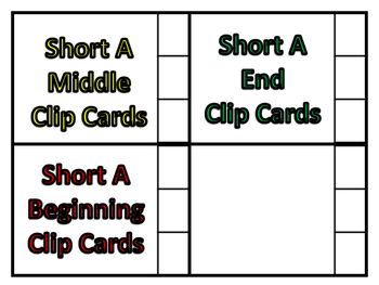 beg. mid. and end short a clip cards