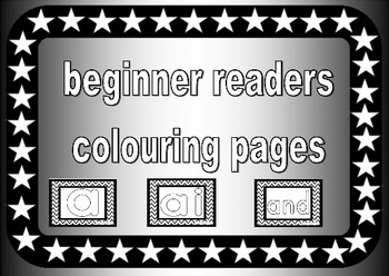 beginner readers colouring pages, preschool, prek, reception, kindergarten