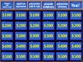 beginning algebra jeopardy! fun game