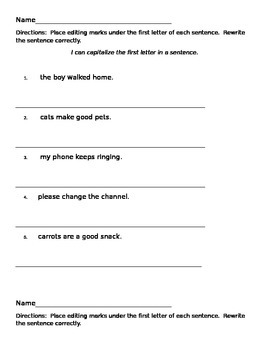 beginning capitalization worksheets