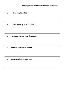 beginning capitalization worksheets