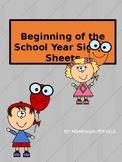 Beginning of the year sign in sheet. (Bonus Planning Sheet)