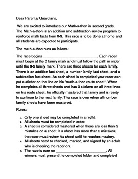 beginning of year fact family review contest letter to parents