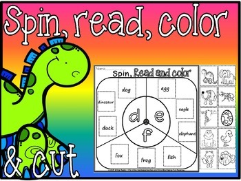 beginning sounds-spin,read,color cut and paste