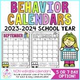 Behavior Calendars {Non-Editable with Codes!} 2017-2018
