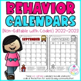 Behavior Calendars {Non-Editable with Codes!} 2018-2019