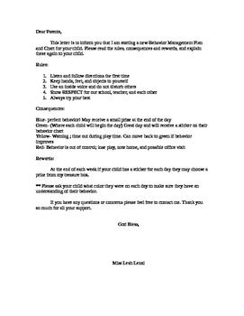 behavior chart letter to parents