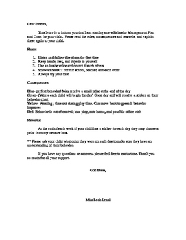 behavior chart letter to parents