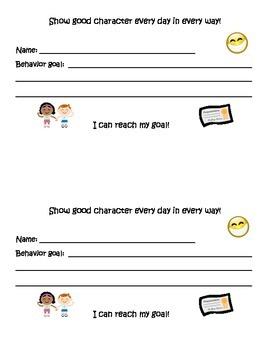 behavior goal sheet (show good character)