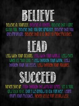 believe.lead.succeed classroom poster