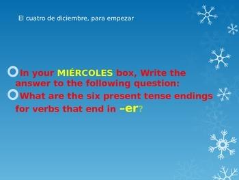 bell ringers Spanish class month of December Avancemos book