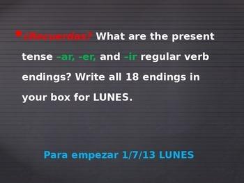 bell ringers Spanish class month of Enero Avancemos book