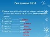bell ringers Spanish class month of febrero Avancemos book