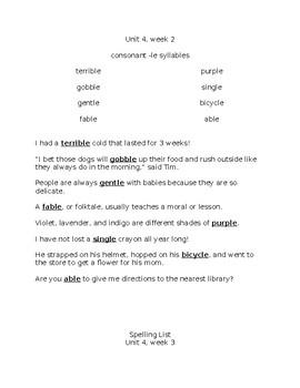 benchmark Advance 3rd Grade Unit 4 Spelling Resource