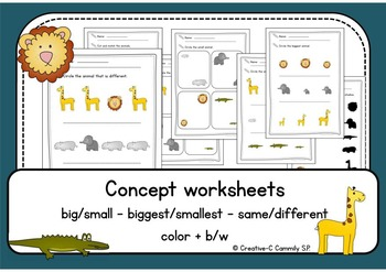 big/small  same/different Animal concept worksheets - Color + b&w NO PREP