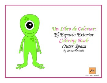 bilingual spanish coloring book outer space theme