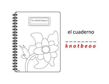 bilingual spanish coloring book school theme