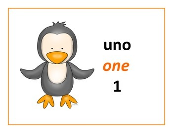 bilingual spanish numbers 1-10 with baby penguins theme