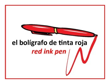 bilingual spanish school items posters