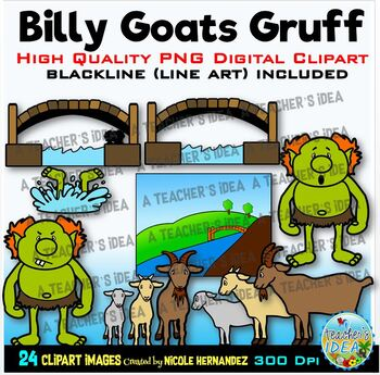 The Three Billy Goats Gruff Clip Art for Personal and Commercial Use