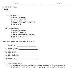 biochemistry formative assessment