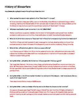 biological warfare history of viruses web quest worksheet