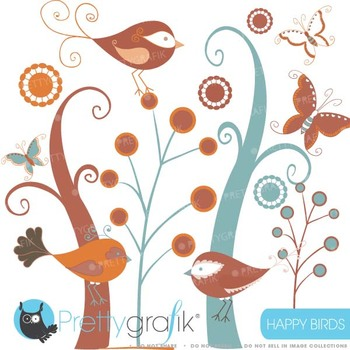 birds and trees clipart commercial use, vector graphics - CL434