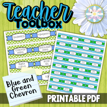 Editable Teacher Toolbox Labels - Blue and Green Chevron