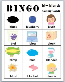 bl- blends BINGO + 12 bonus pages of bl- vocabulary words