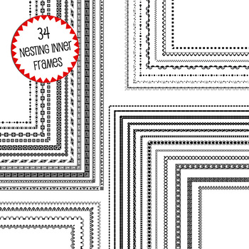 black and white digital frame page borders // 74 nesting .png frames