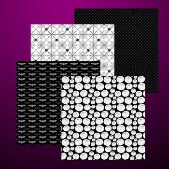 black and white digital paper for Halloween - printable .jpg files TPT178
