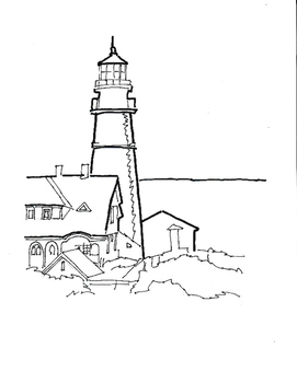 black and white outlines of sailboat and a lighthouse for painting