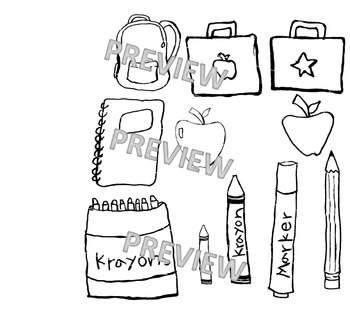 black and white school supply clipart