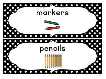 black & white polka dot art supply labels