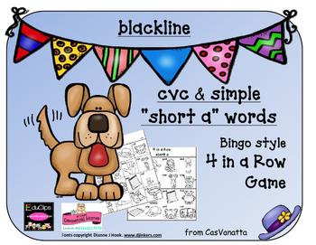 blackline 'Short a' cvc / simple word Bingo-style Four In a Row Game