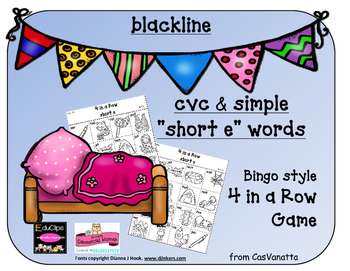 blackline 'Short e' cvc / simple word Bingo-style Four In a Row Game