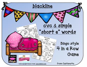 blackline 'Short e' cvc / simple word Bingo-style Four In