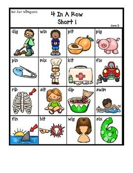 blackline 'Short i' cvc / simple word Bingo-style Four In a Row Game