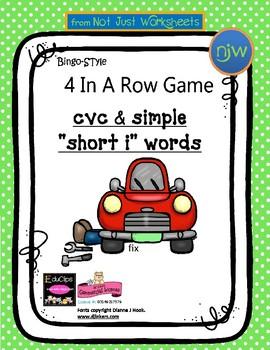 blackline 'Short i' cvc / simple word Bingo-style Four In
