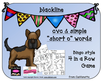 blackline 'Short o' cvc / simple word Bingo-style Four In