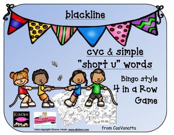 blackline 'Short u' cvc / simple word Bingo-style Four In a Row Game