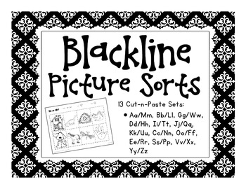 blackline picture sorts: 13 cut-n-paste sets with bonus materials