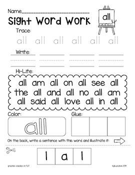 blackline sight word printables