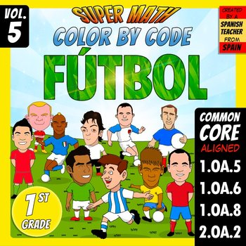 Fútbol - Color by Code - 1st grade - Super Math - Volume 5