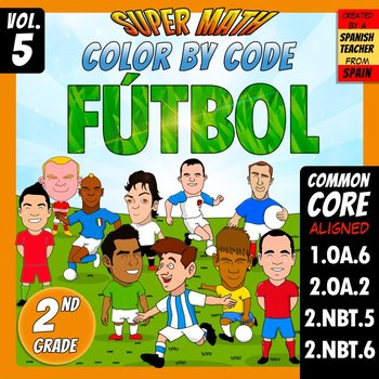Fútbol - Color by Code - 2nd grade - Super Math - Volume 5